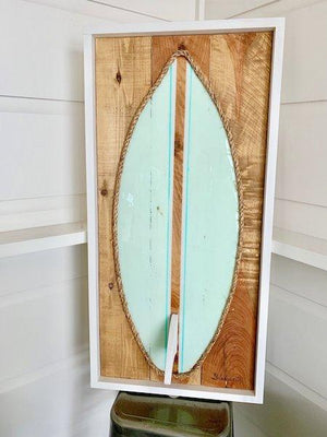 Sky Blue Turq Stripe Resin Surfboard Rope & Wood - MADE TO ORDER Wall Art Tabula Rasa Essentials