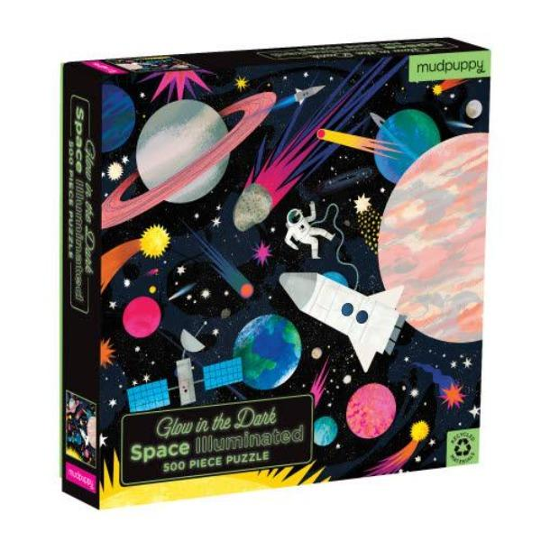 Space Illuminated Glow in Dark Puzzle Kids Books Mudpuppy
