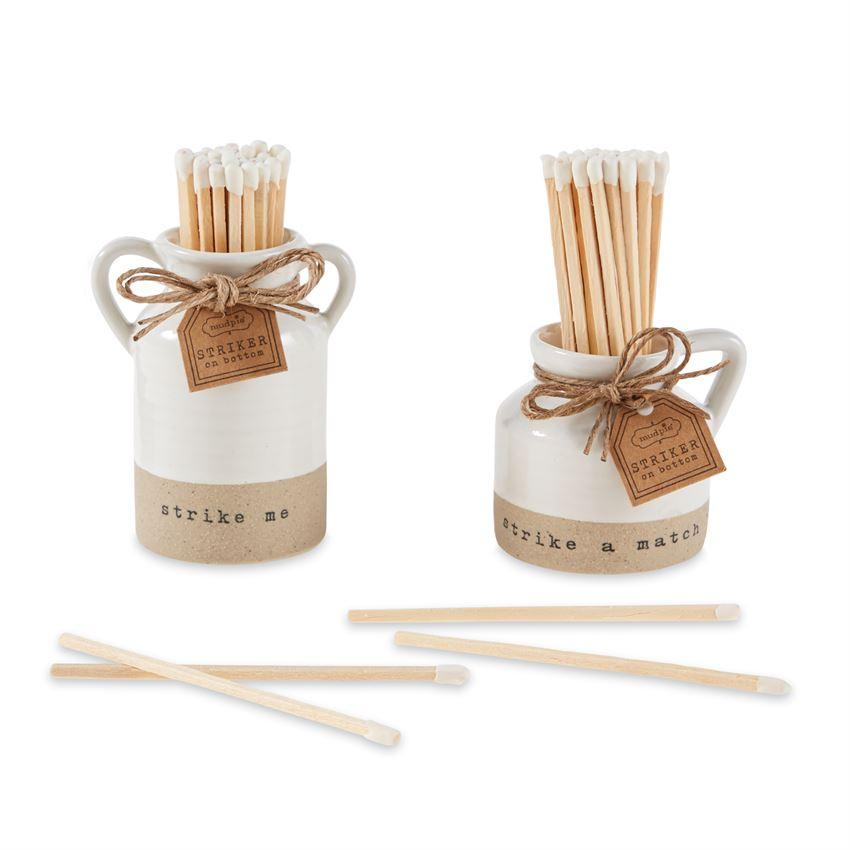 Stoneware Match Pot Set Matches Tabula Rasa Essentials Strike Me