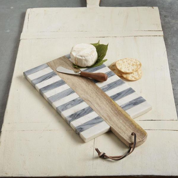 Stripe Marble Wood Inlay Board Cheeseboard Tabula Rasa Essentials