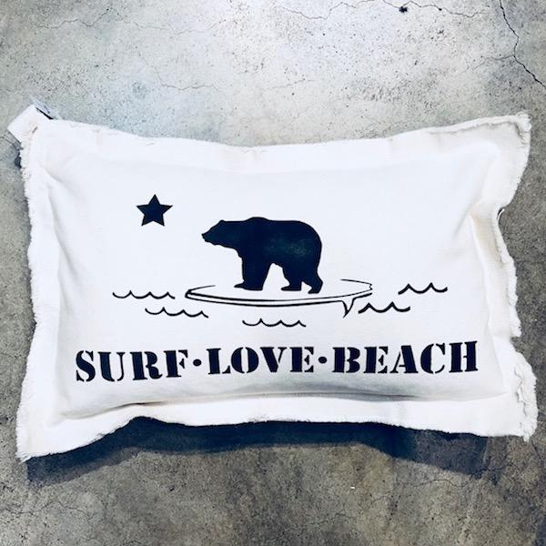 Surf Love Baby Rectangle Pillow Pillow Tabula Rasa Essentials Black
