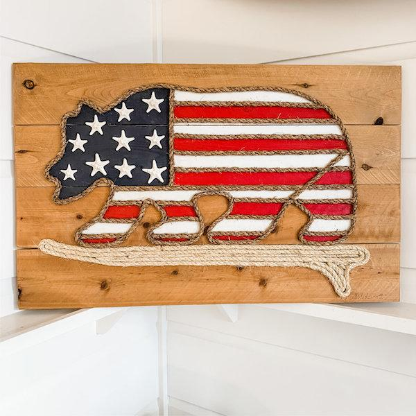 Surfing Bear Rope & Wood - MADE TO ORDER Wall Art Tabula Rasa Essentials