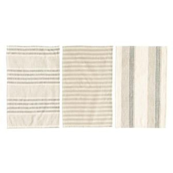 Taupe/Black/Cream Cotton Striped Tea Towels Tea Towel Creative Co-Op