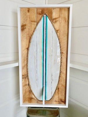 Vintage White Turq Navy Stripe Resin Surfboard Rope & Wood - MADE TO ORDER Wall Art Tabula Rasa Essentials