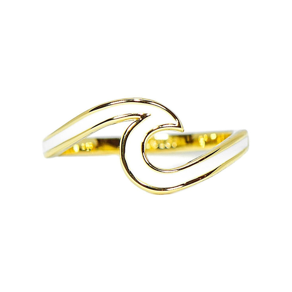 White Enamel Wave Ring Jewelry Puravida