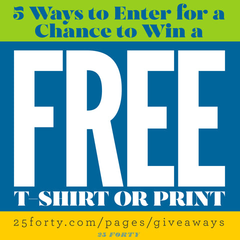 """Lime, blue and yellow images with """"FREE"""" very large. """"5 Ways to Enter for a Chance to win a FREE Christian t-shirt or print?"""