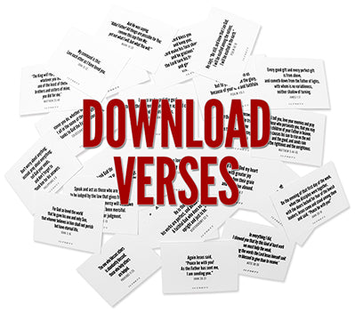 """Bible verses on note cards randomly placed on white background shot in studio with the words """"DOWNLOAD VERSES"""" placed over the photo"""