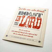Load image into Gallery viewer, 2 Corinthians 10:17-18, Boast in The Lord, printed on fine art paper with textured western design