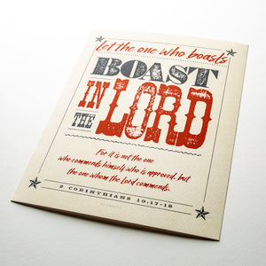 2 Corinthians 10:17-18, Boast in The Lord, printed on fine art paper with textured western design