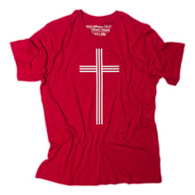 Load image into Gallery viewer, White Christian Cross with 3 vertical and 3 horizontal lines on red t shirt with Matthew 25:40 printed as the tag.