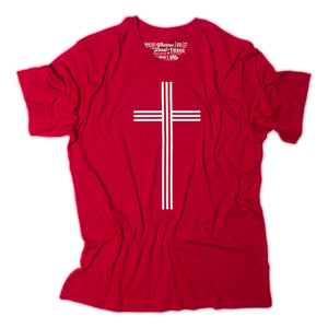White Christian Cross with 3 vertical and 3 horizontal lines on red t shirt with Matthew 25:40 printed as the tag.