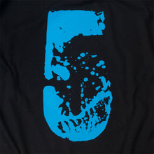 Load image into Gallery viewer, Close up of large, distressed 5 printed in blue on black.