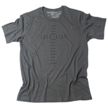 Load image into Gallery viewer, Simple Palladian style Christian Cross of circles printed in black on dark gray t shirt