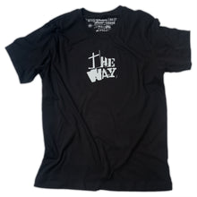 "Load image into Gallery viewer, Black Christian t shirt with ""The Way"" from John 14:6 printed in white"