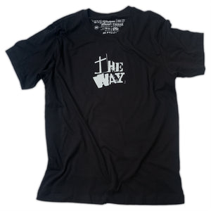 "Black Christian t shirt with ""The Way"" from John 14:6 printed in white"