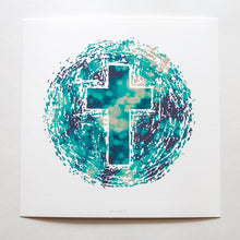 Load image into Gallery viewer, Abstract of the world with Christian cross in the middle with bokeh on white fine art paper