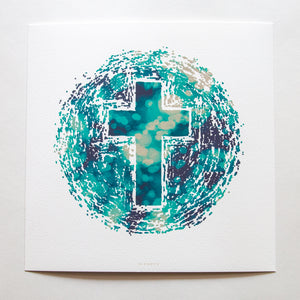Abstract of the world with Christian cross in the middle with bokeh on white fine art paper
