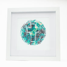 Load image into Gallery viewer, Abstract of the world with Christian cross with bokeh on white fine art paper in white frame