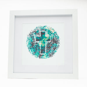 Abstract of the world with Christian cross with bokeh on white fine art paper in white frame
