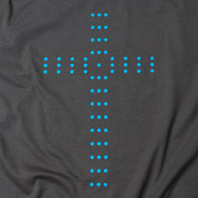 Load image into Gallery viewer, Close up of Charcoal t shirt with light blue cross made of circles