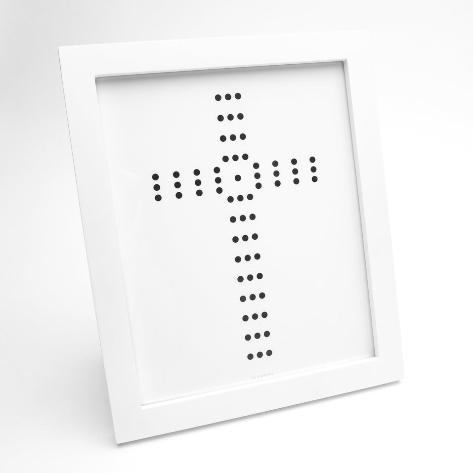Palladian style black cross of circles on white glossy fine art paper in white frame