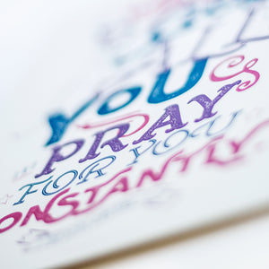 "Close up with selective focus of the words ""pray for you"" from 1 Thessalonians 1:2"