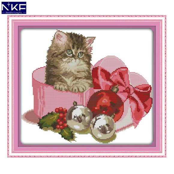Kitten in Ribbon Cross Stitch Kit