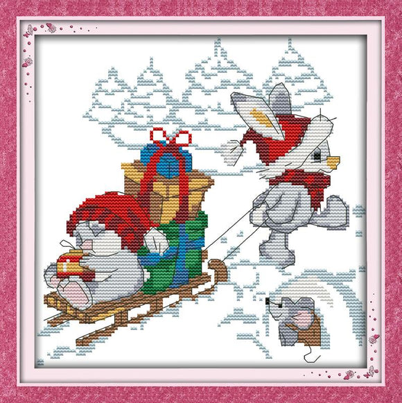 Christmas Rabbit and Friends Cross Stitch Kit