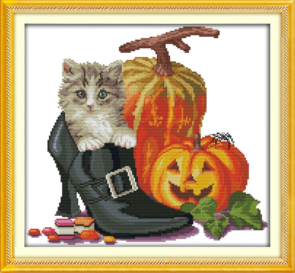 Halloween Kitten Counted Cross Stitch