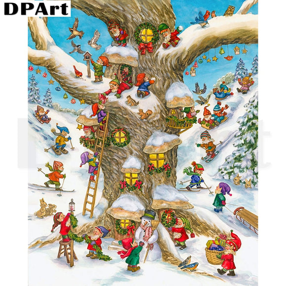Elves Decorating Their Tree Diamond Painting