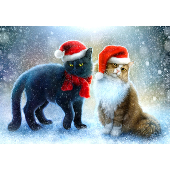 Black and White Christmas Cats Diamond Painting