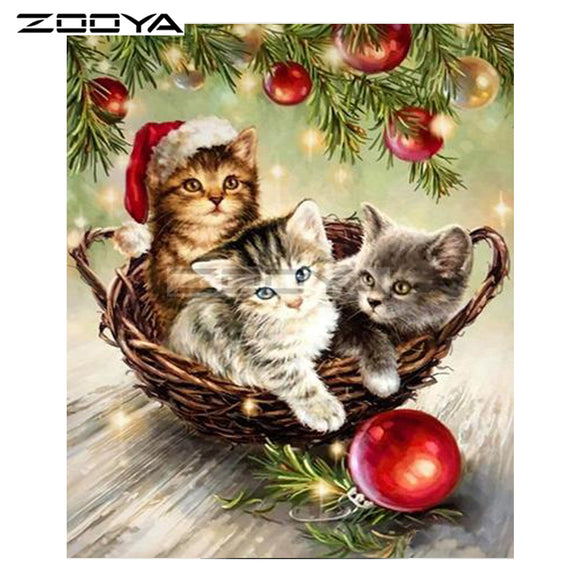 Christmas Kittens in a Basket Diamond Painting