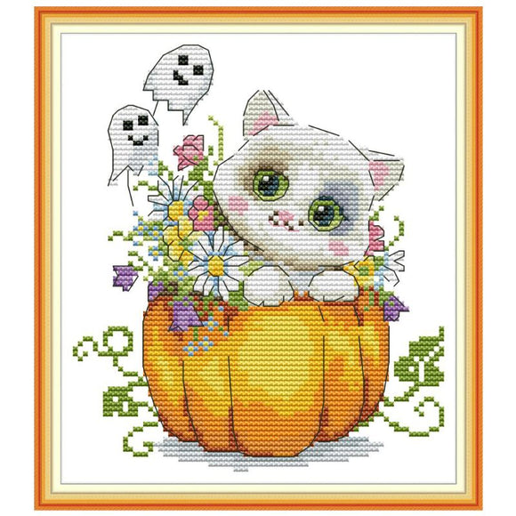 Halloween Cat in a Pumpkin Cross Stitch kit