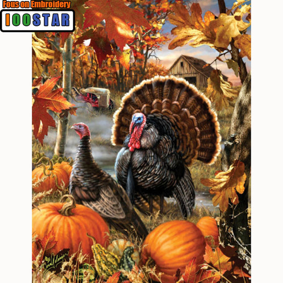 Turkeys in the Pumpkin Patch Diamond Painting