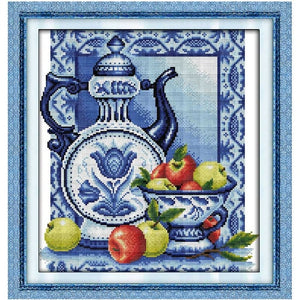 Porcelain and Strawberry Pattern Cross Stitch Kit on Counted or Printed Cloth with Thread and Needle