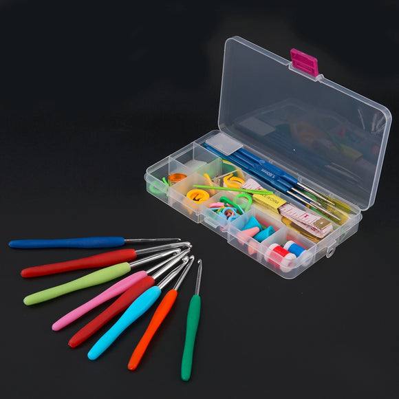 Craft Case for Organization of Projects Includes 16 Different Sizes of Crochet Hooks and Other Craft Tools