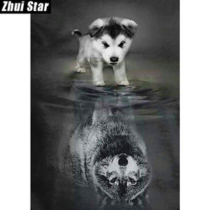 """Dog to Wolf"" Diamond Painting Kit"