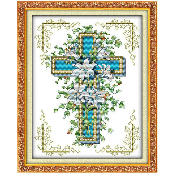 Religious Cross with Jesus Lily Cross Stitch Kit