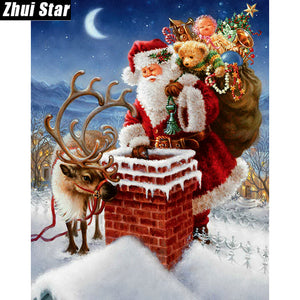 Santa on the Rooftop Diamond Painting Kit