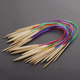 "Carbonized Bamboo Circular Knitting Needles 16"" Multicolor Tubes or 24"" White Tubes 18 Sizes"