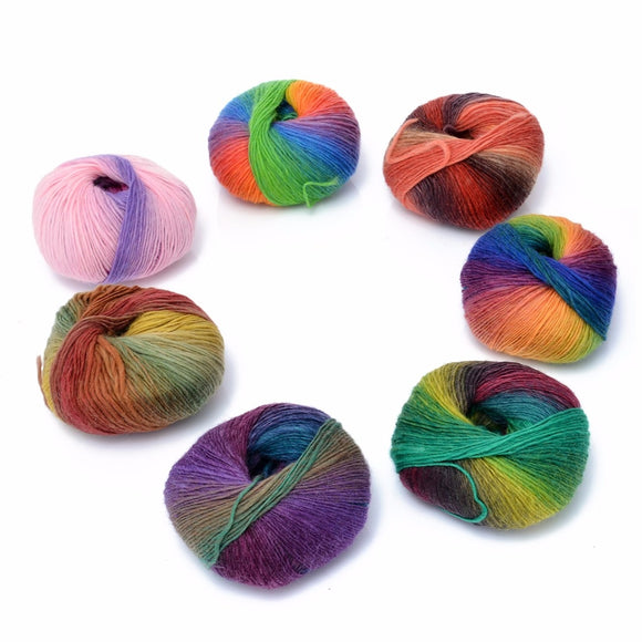 Mayitr 50g Ball 100% Fine Wool in Rainbow Colors Baby Soft for Knitting/Crochet Projects Hand Washable