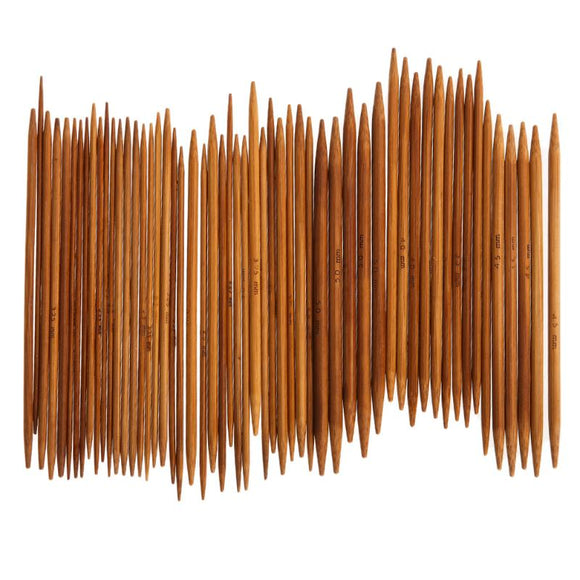 Double Pointed Carbonized Bamboo Knitting Needles 55 pcs in 11 sizes