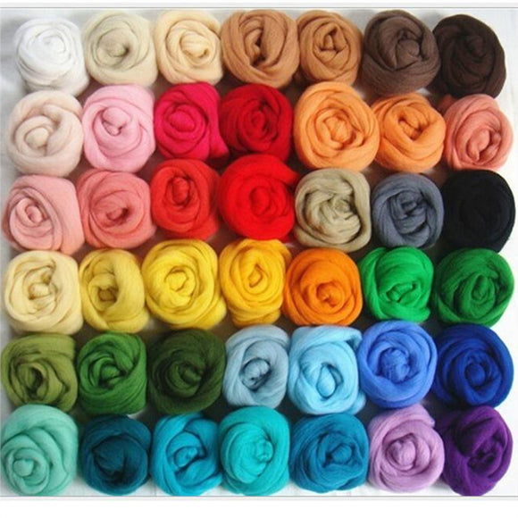 36 Colors/Lot Wool Roving