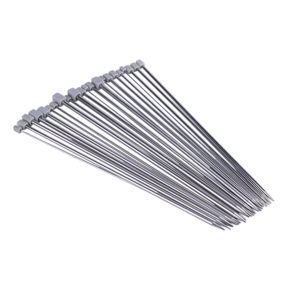 Stainless Steel Straight Knitting Needle Set