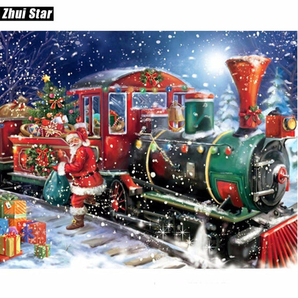 Christmas Santa Claus Train Diamond Painting Kit