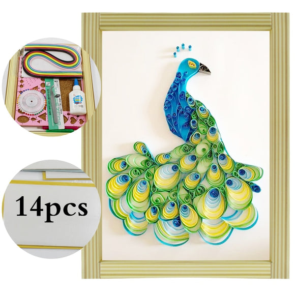 Colorful Peacock Paper Quilling Kit