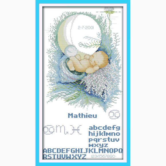 Baby Moon Birth Record Cross-Stitch Kit on Counted or Printed Cloth with DMC Thread and Needle