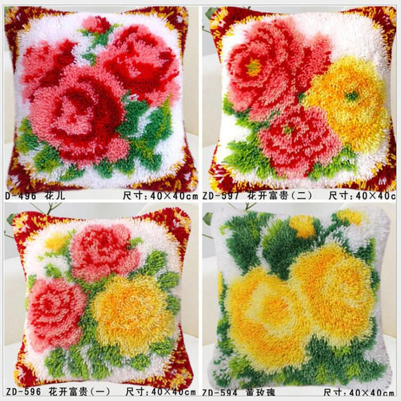 Flower Pillow/Placemat Latch Hook Kit with Yarn and Tool