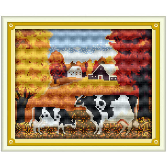 Autumn Cows Scenic Cross Stitch Kit Worked on Counted or Stamped Cloth with Thread and Needle