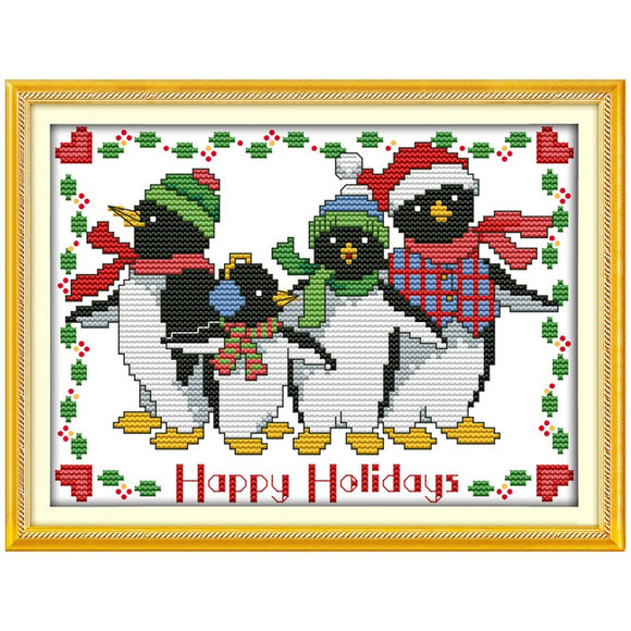 Christmas Penguins Cross Stitch Kit